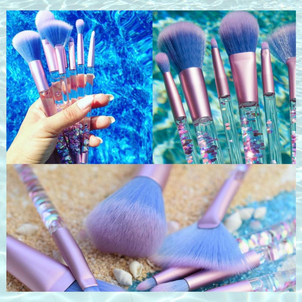 Liquid Glitter Aquarium Makeup Brush Set 7 PCS Makeup
