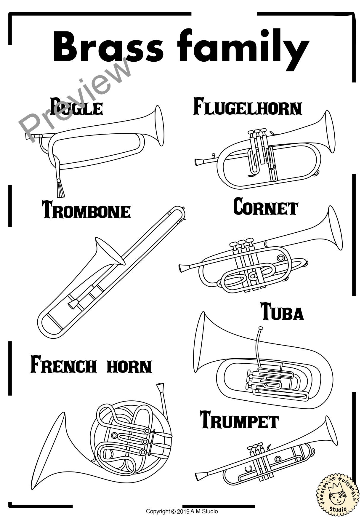 Instrument Families Coloring Pages Anastasiya Multimedia