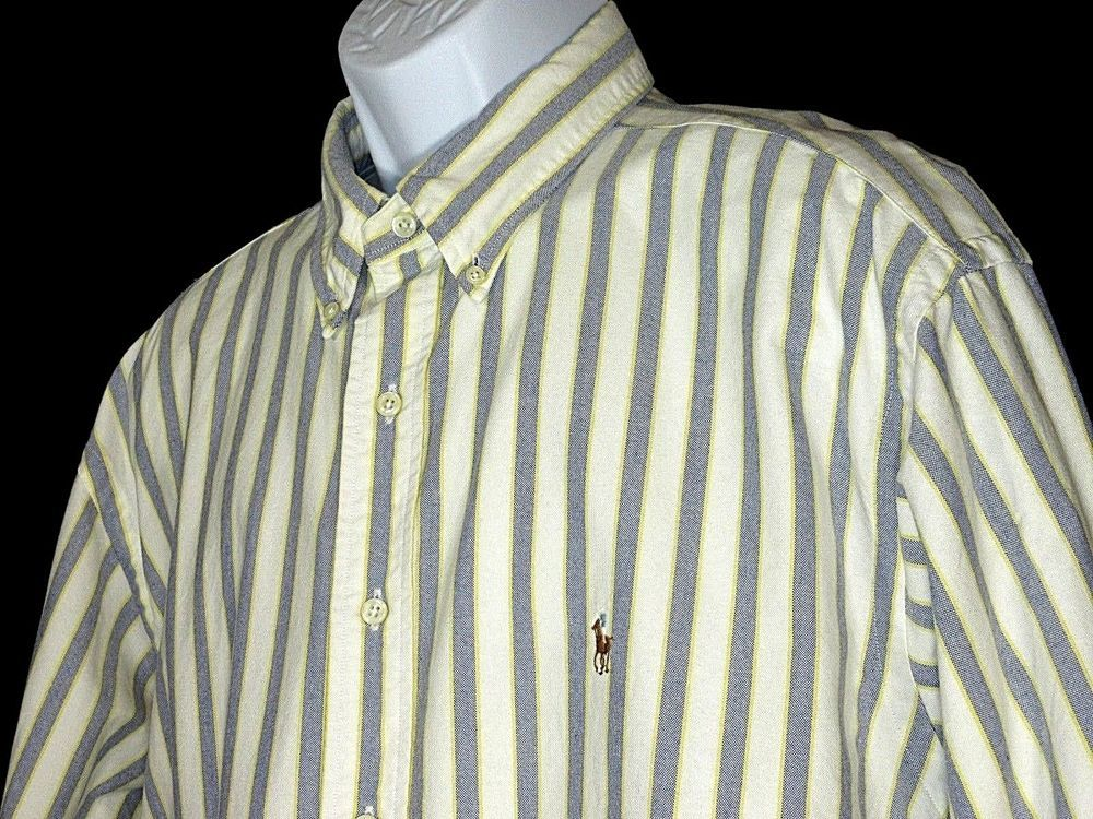 POLO RALPH LAUREN Mens White Blue Yellow Stripe Button Shirt Yarmouth Sz 17.5-35 #PoloRalphLauren #ButtonFront