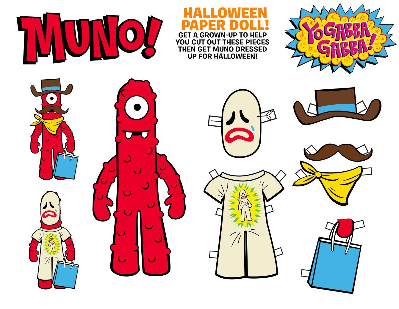 Yogabbagabba Halloween Paper Doll Printable Go Muno