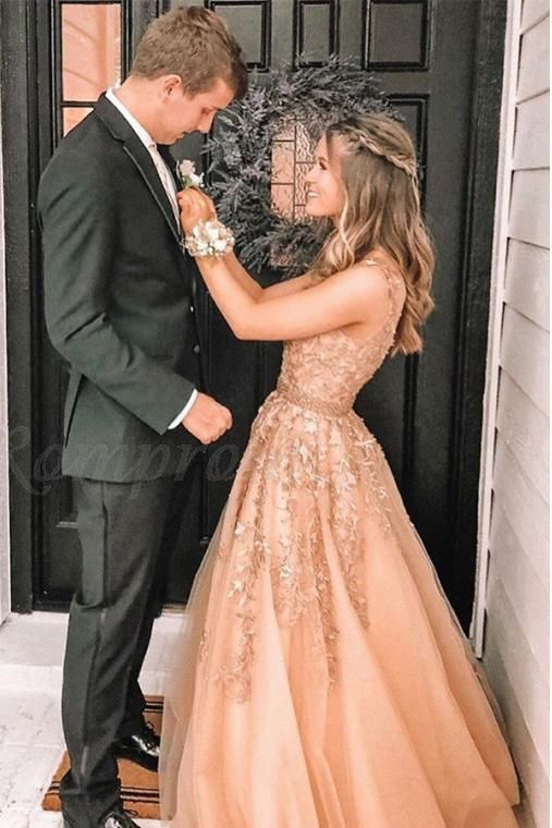 Buy Charming A Line V Neck Beads Tulle Prom Dresses with Appliques Floor Length Formal Dresses SSA15092 Online  SisaStore Source by anidakaric dress lace