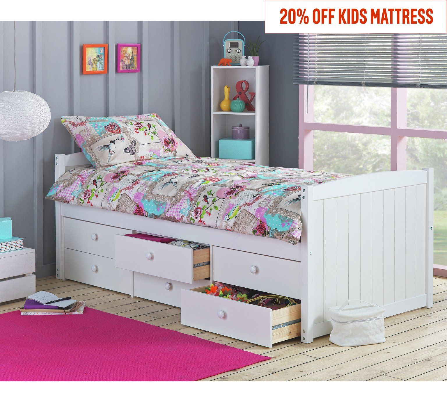 Buy Argos Home Lennox 6 Drawer Cabin Bed Frame - White ...
