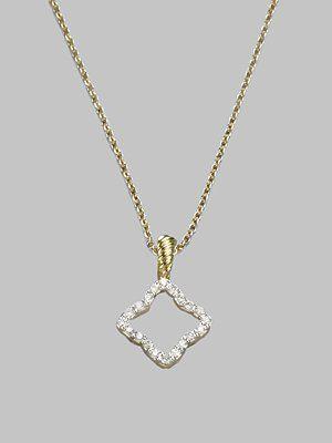 David Yurman Diamond 18k Yellow Gold Quatrefoil Necklace Quatrefoil Necklace Jewelry Necklace
