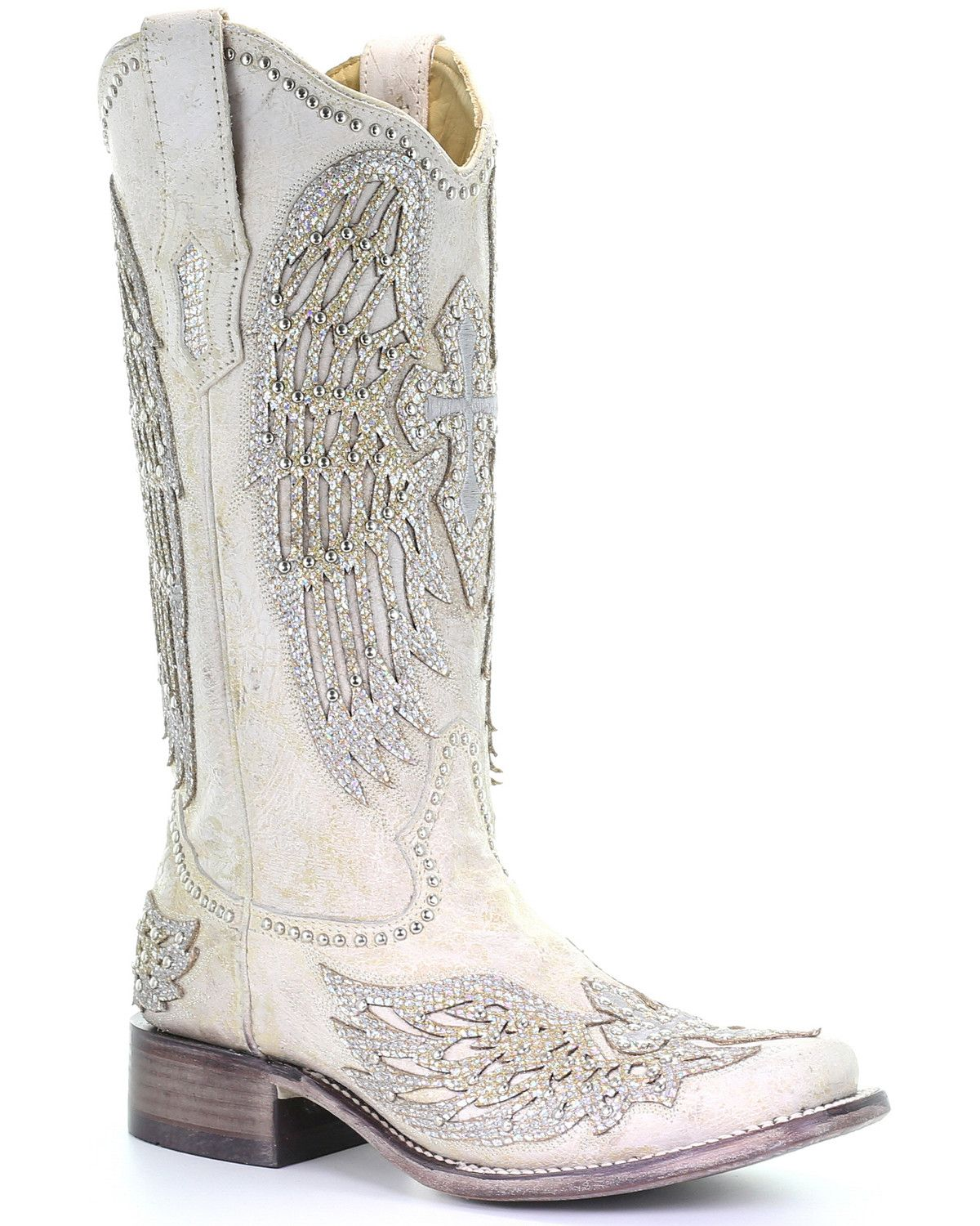 Corral womens white cross wings western boots square
