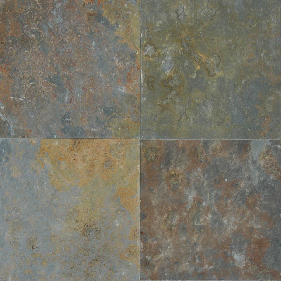 San Rio Rustic Slate Floor Tile From Brazil Features Shades Of Blues Grays Greens And Golds