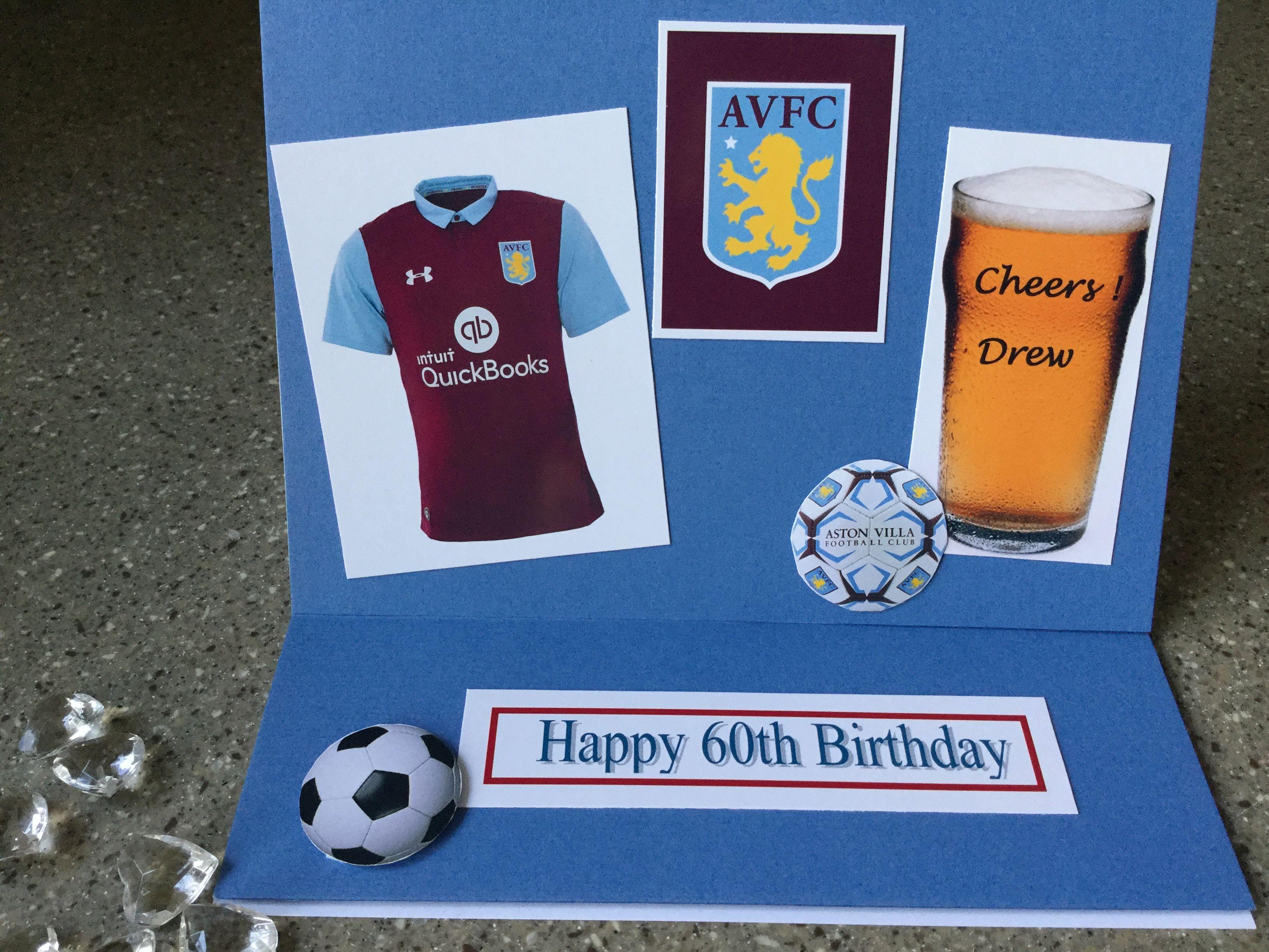 Aston Villa 60th Birthday Card 60th Birthday Cards Birthday Cards Personalized Birthday Cards