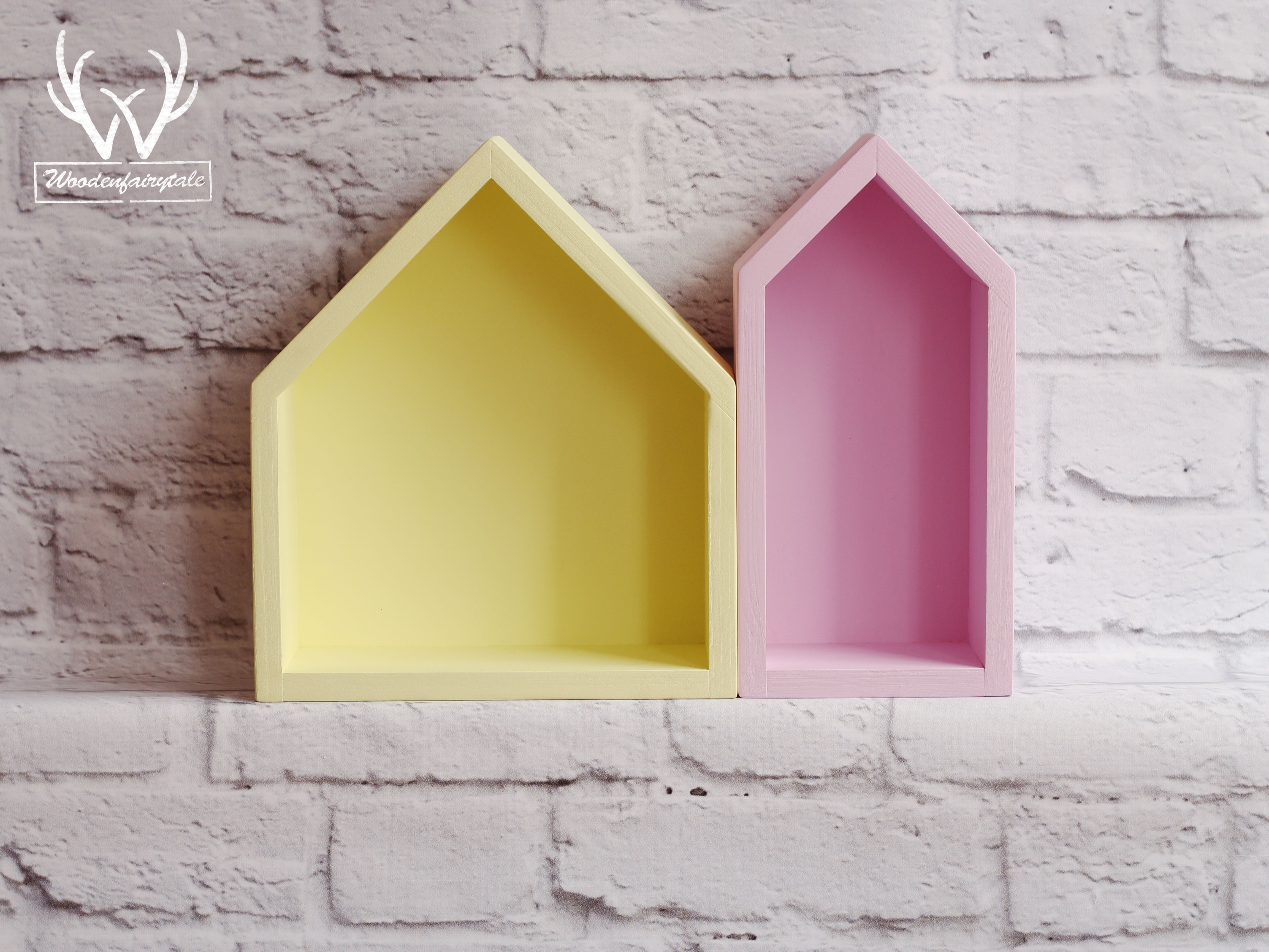 Trendy set of rose and yellow house-shaped shelves. One of the best ...