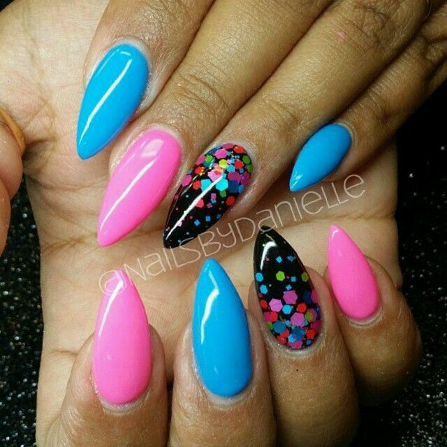 pastel pink, blue, and black with polka dots nail art design - Pin By Caitlin Mcshane On Nails.. Pinterest Nail Nail, Manicure