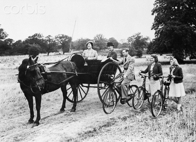King George VI and Queen Elizabeth out riding with the Princesses' 1943