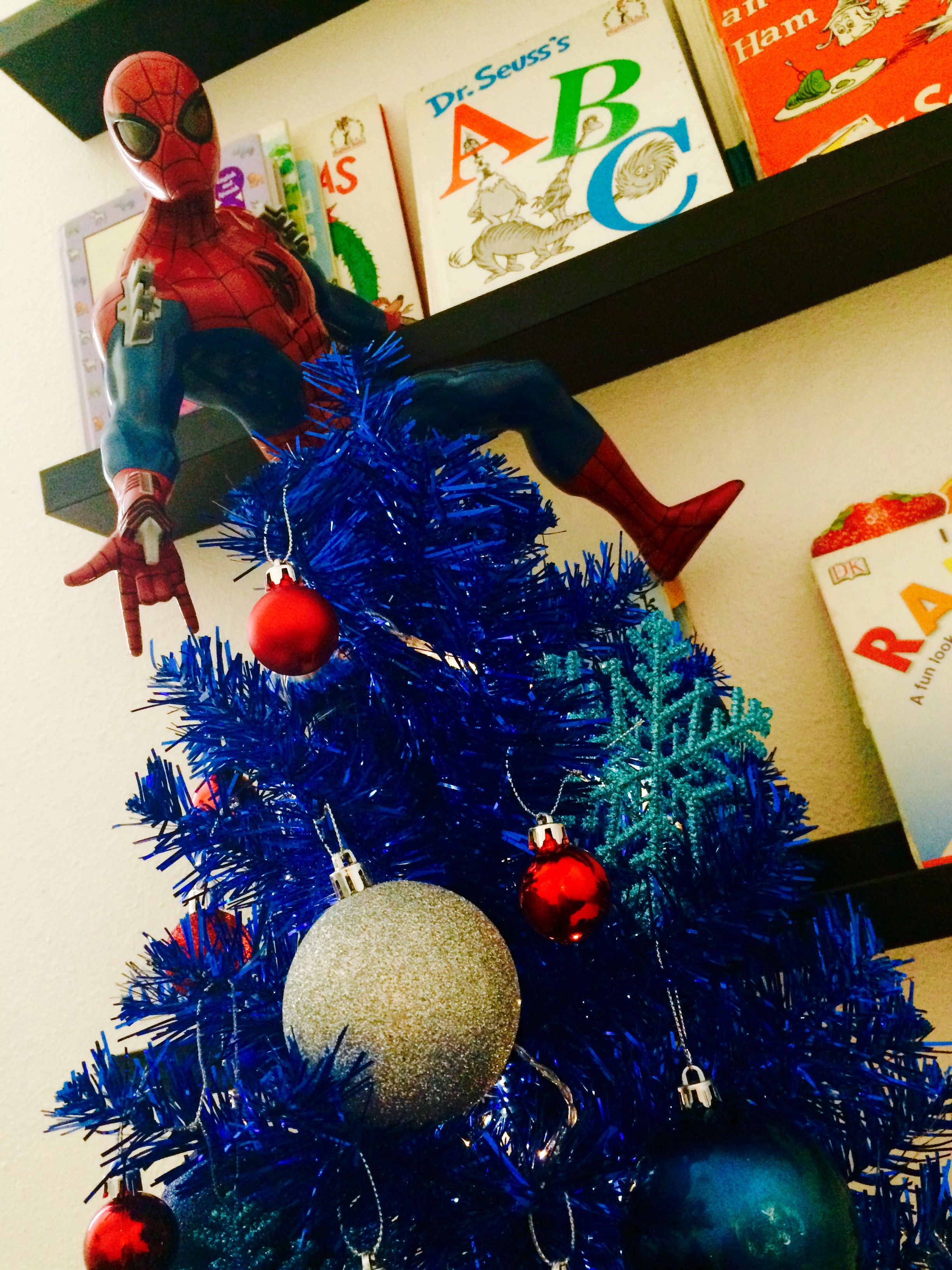 Miniature Spider Man Christmas Tree For Boys Of All Ages Holiday Christmas Tree Christmas Decorations Spiderman Christmas
