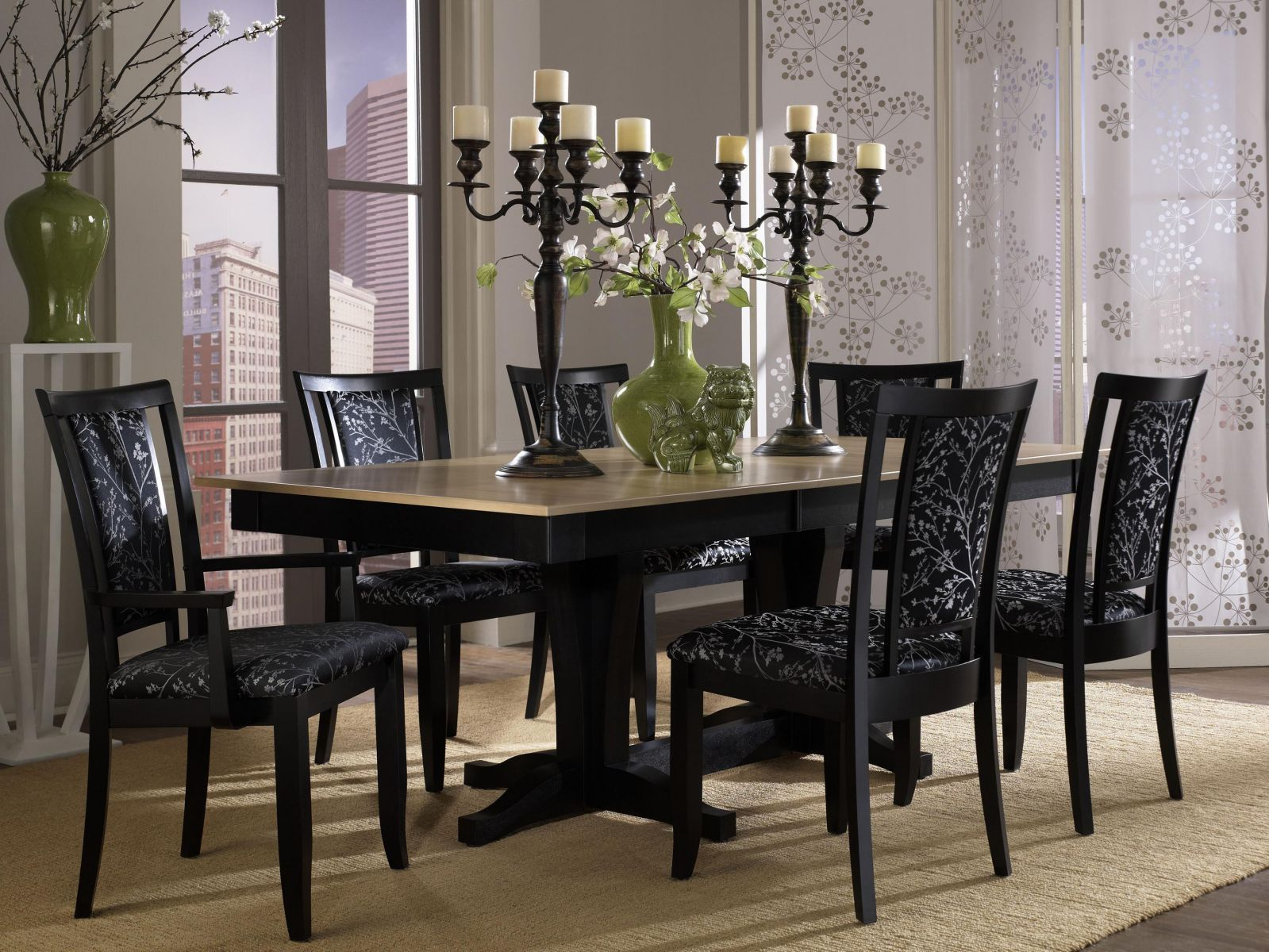 Contemporary Round Dining Room Tables Classy Stylish Dining Room Set Idea With Black Floral Upholstered Chairs Design Decoration