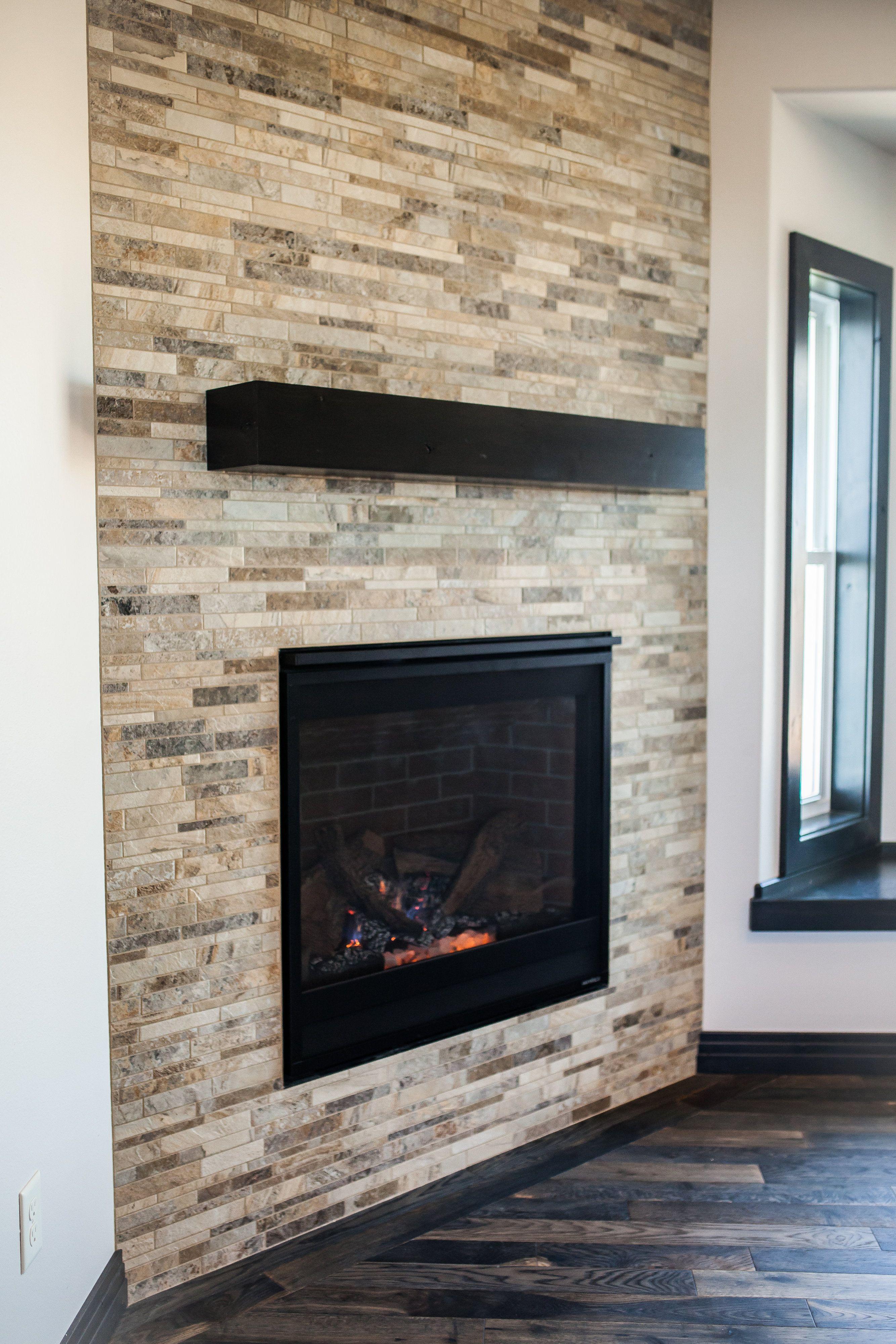 Corner Angle Tiled Fireplace Surround Wall Fireplace