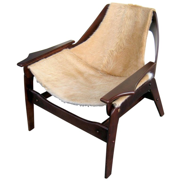 Designer Sling Chairs: A Stained Walnut Sling Chair Designed By Jerry Johnson In