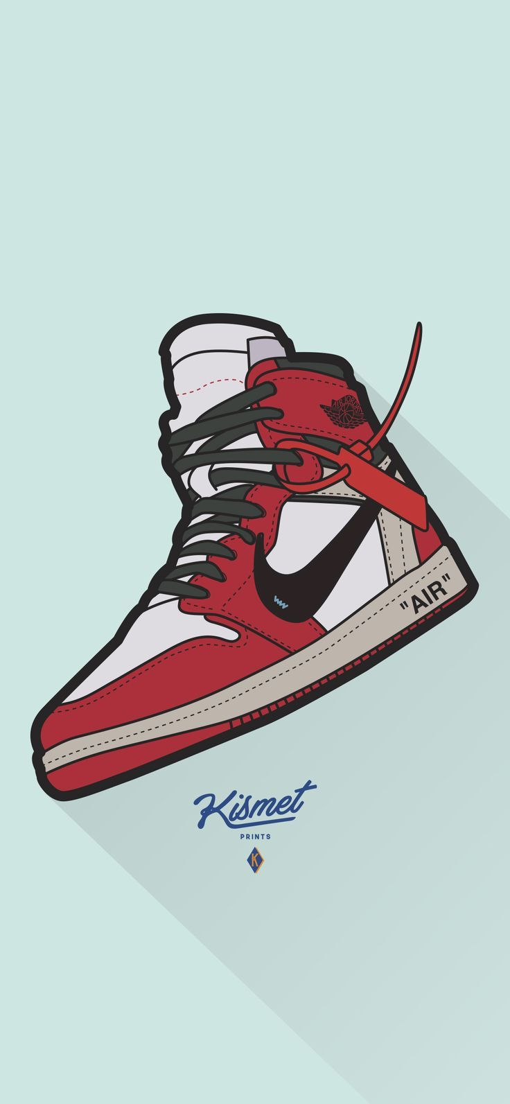 Air Jordan 1 Off White Sneaker Art Digital Print Poster Sneakers Wallpaper Nike Wallpaper Streetwear Wallpaper