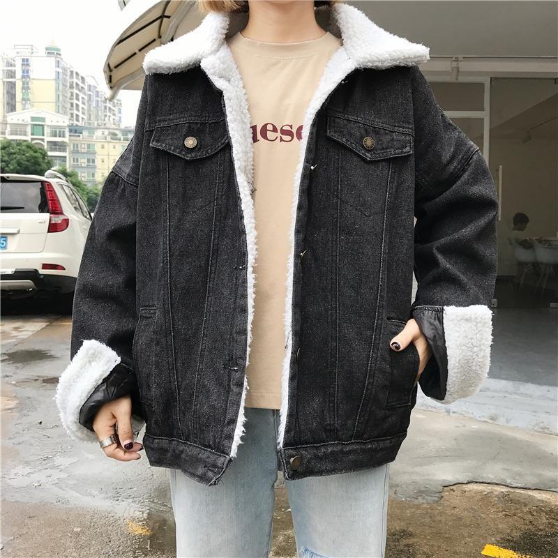 Black Denim Buttons Fluffy White Collar Outwear Jean Jacket
