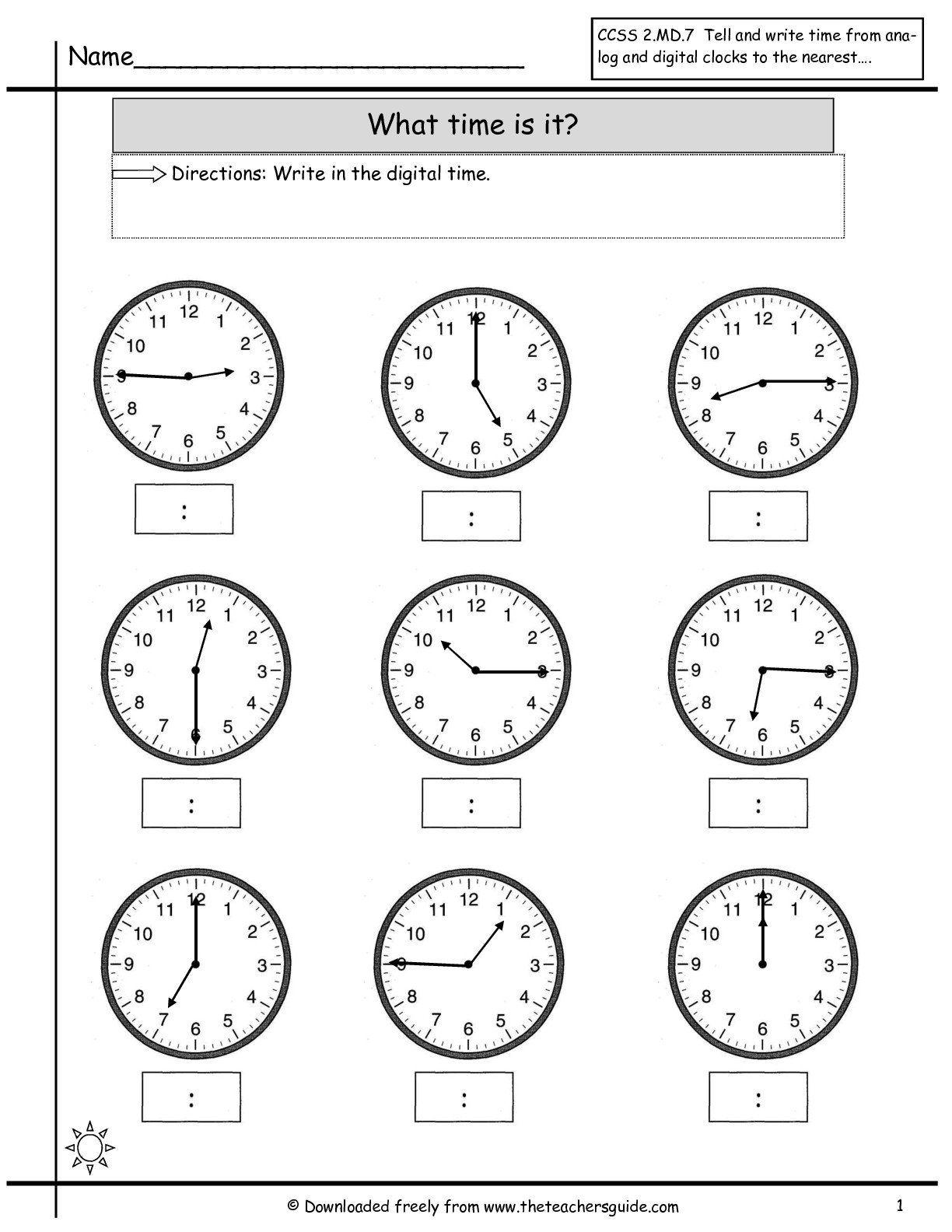 Quarter Hour Clock Worksheets In