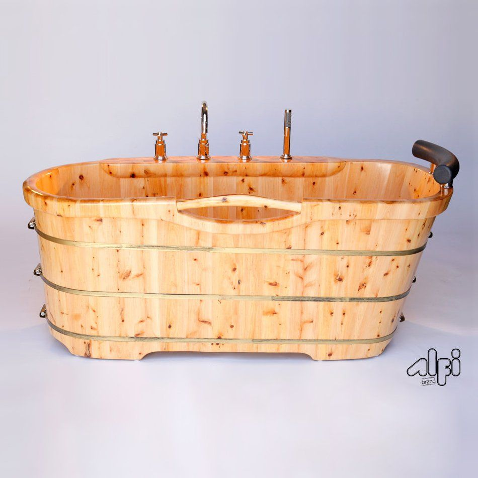ALFI Brand AB1136 Free Standing Cedar Freestanding Tub