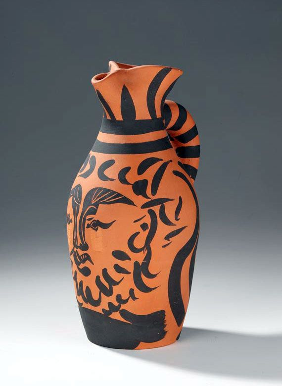 A Circa 1960 S Hand Painted Clay Pitcher By Pablo Picasso