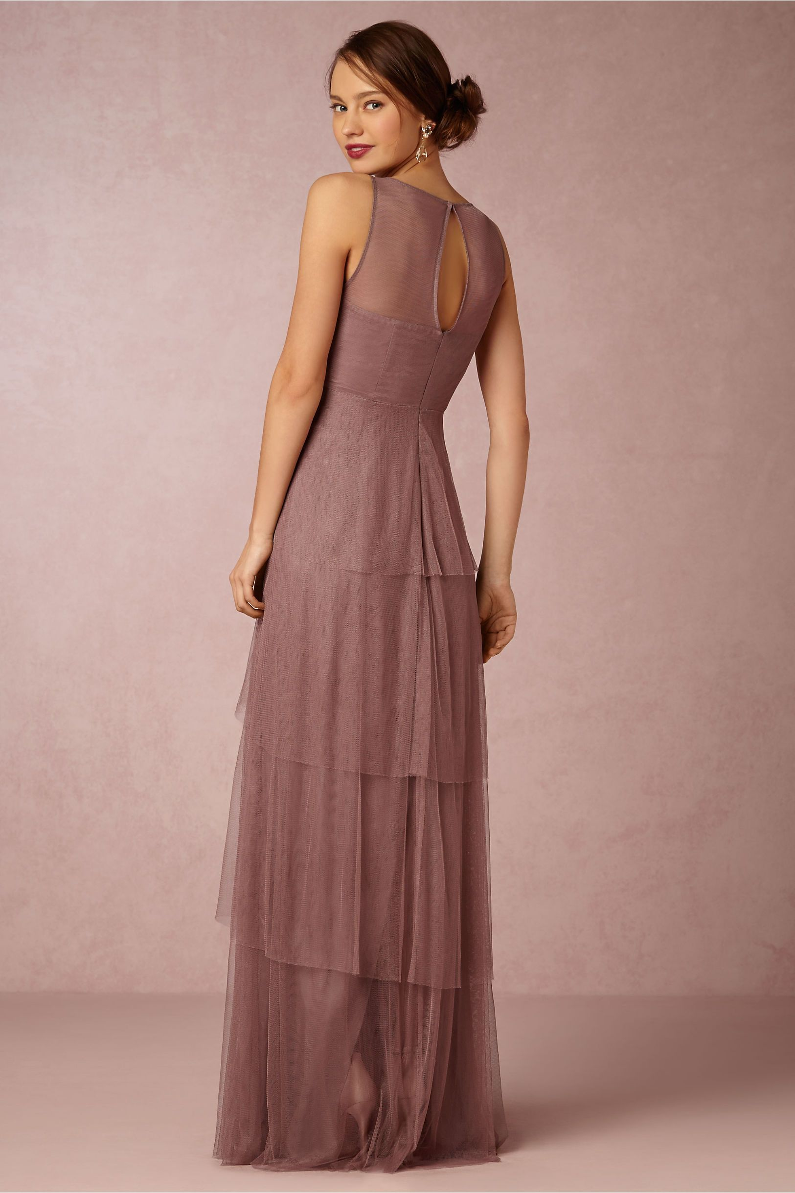 Sleeveless Illusion Bateau Neck A-line Tiered Tulle Bridesmaid Dress ...