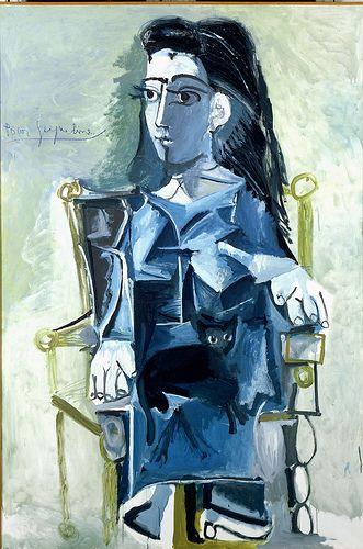 Jacqueline Assise avec son chat. : Pablo Picasso 1881-1973