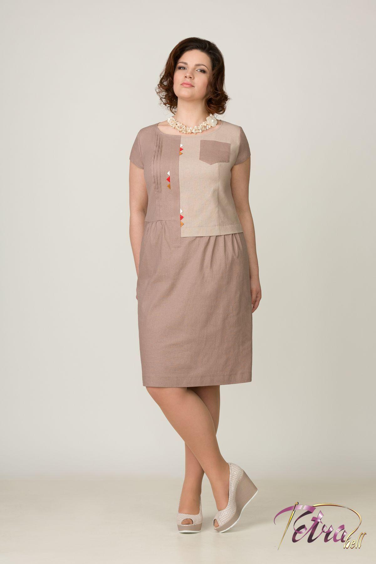 Льняные женские платья больших размеров
