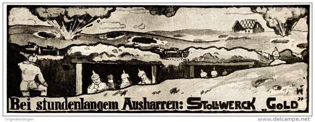 Original-Werbung/ Anzeige 1915 - BEI STUNDENLANGEM AUSHARREN / STOLLWERCK GOLD SCHOKOLADE - ca. 170 x 60 mm