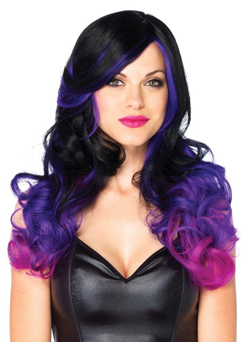 pc allure black purple wavy wig wig and purple