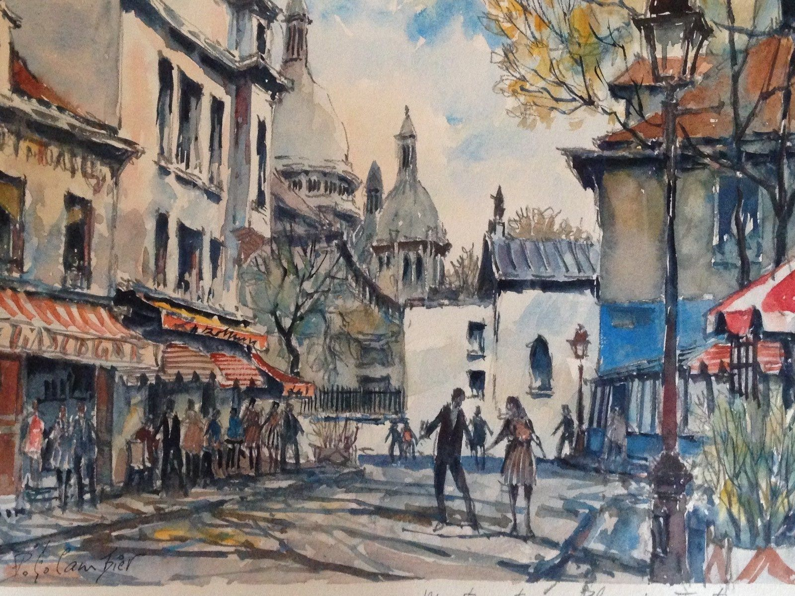 Old Watercolor Painting Signed Pierre Eugene Cambie Well Listed