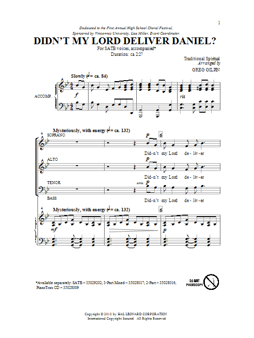 Greg Gilpin Didnt My Lord Deliver Daniel Sheet Music Notes And