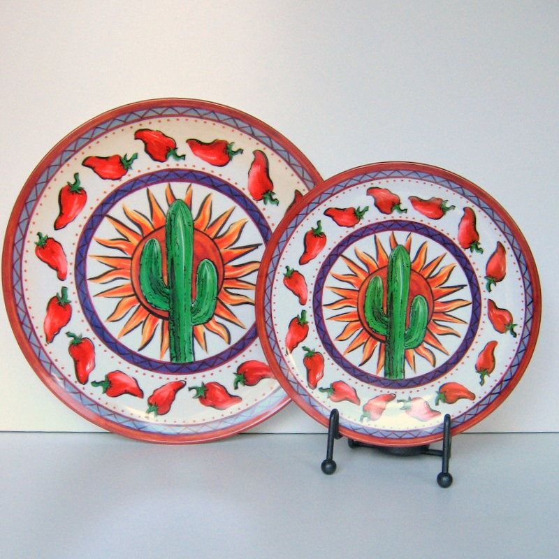 Vintage Cactus And Chili Pepper Plates Set Of 4 Plastic