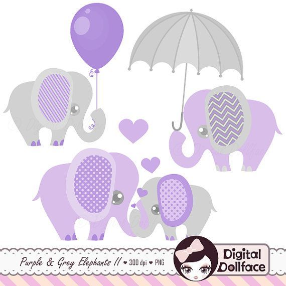 purple and grey baby shower elephants clipart digital lavender