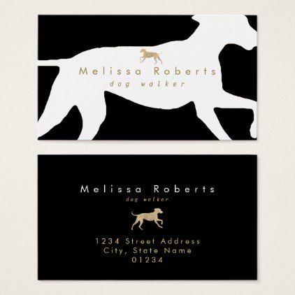 Dog walker black white faux gold business card black and white dog walker black white faux gold business card black and white gifts unique special bw colourmoves