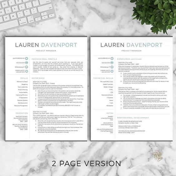 Modern Resume Template for Word and Pages / Creative, Modern Resume - resume 1 or 2 pages