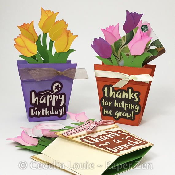 Flower Pot Pop Up Box Card With Gift Card Svg Files For Cricut Explore Or Silhouette Compatible Models Pop Up Box Cards Card Box Pop Up Cards