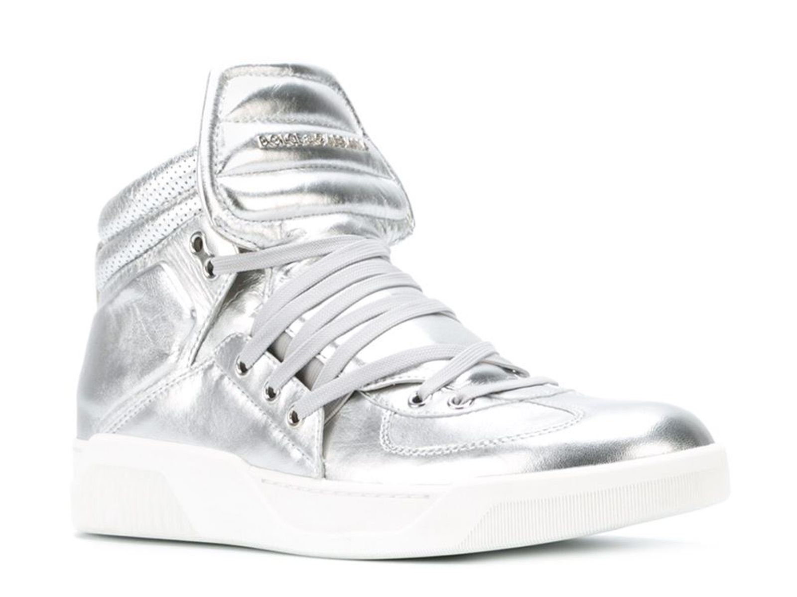 Dolce & Gabbana men's high sneakers in silver Leather