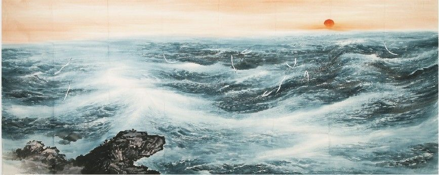 Splendid Sight Traditional Chinese Painting Of The Terrifying Waves Chinese Landscape Painting Chinese Landscape Landscape Paintings
