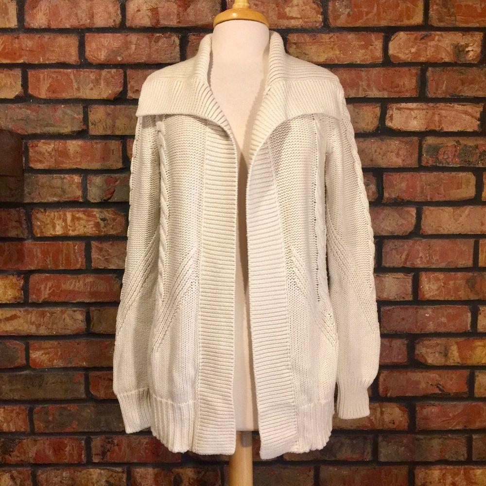 Banana Republic Cable Knit Cardigan Sweater Sz Medium Beige Cream ...