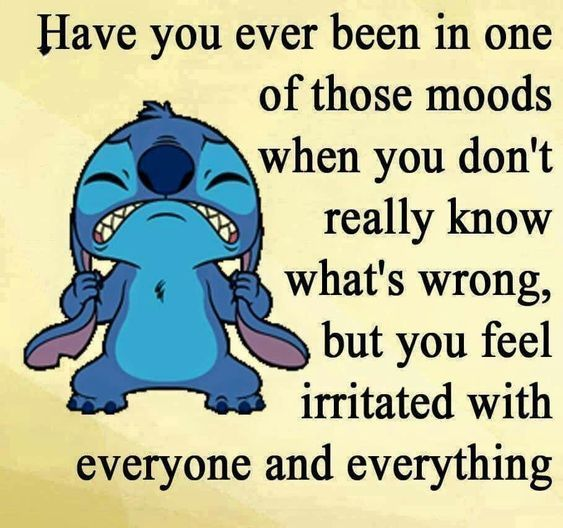 Have you ever been in one of those moods when you don't really know what's wrong but you feel irritated with everyone and everything
