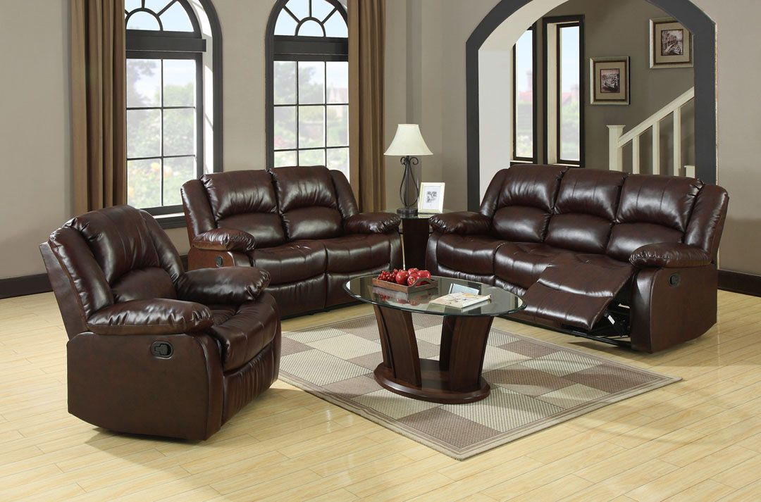 Best of A M B Furniture & Design Living room furniture Sofas and Sets Motion sofa sets 3 Pc Classic Style Winslow Rustic Brown Bonded Leather HD - Modern leather reclining sofa and loveseat Photo