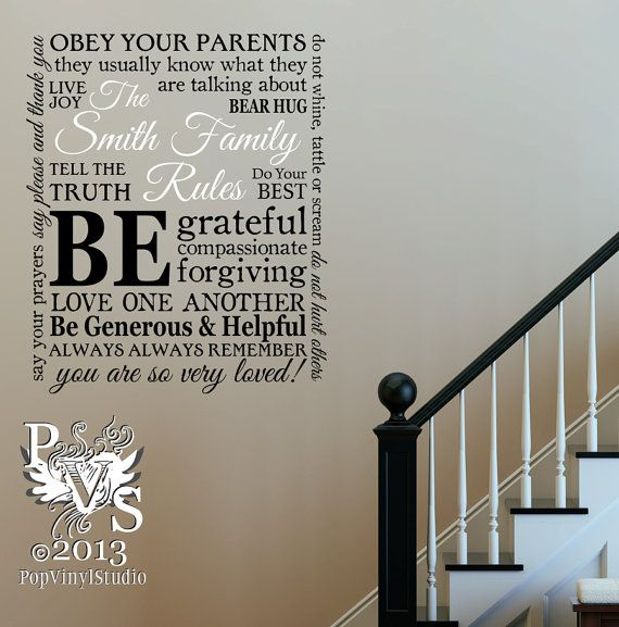personalized family rules wall decalpoppopvinylstudio