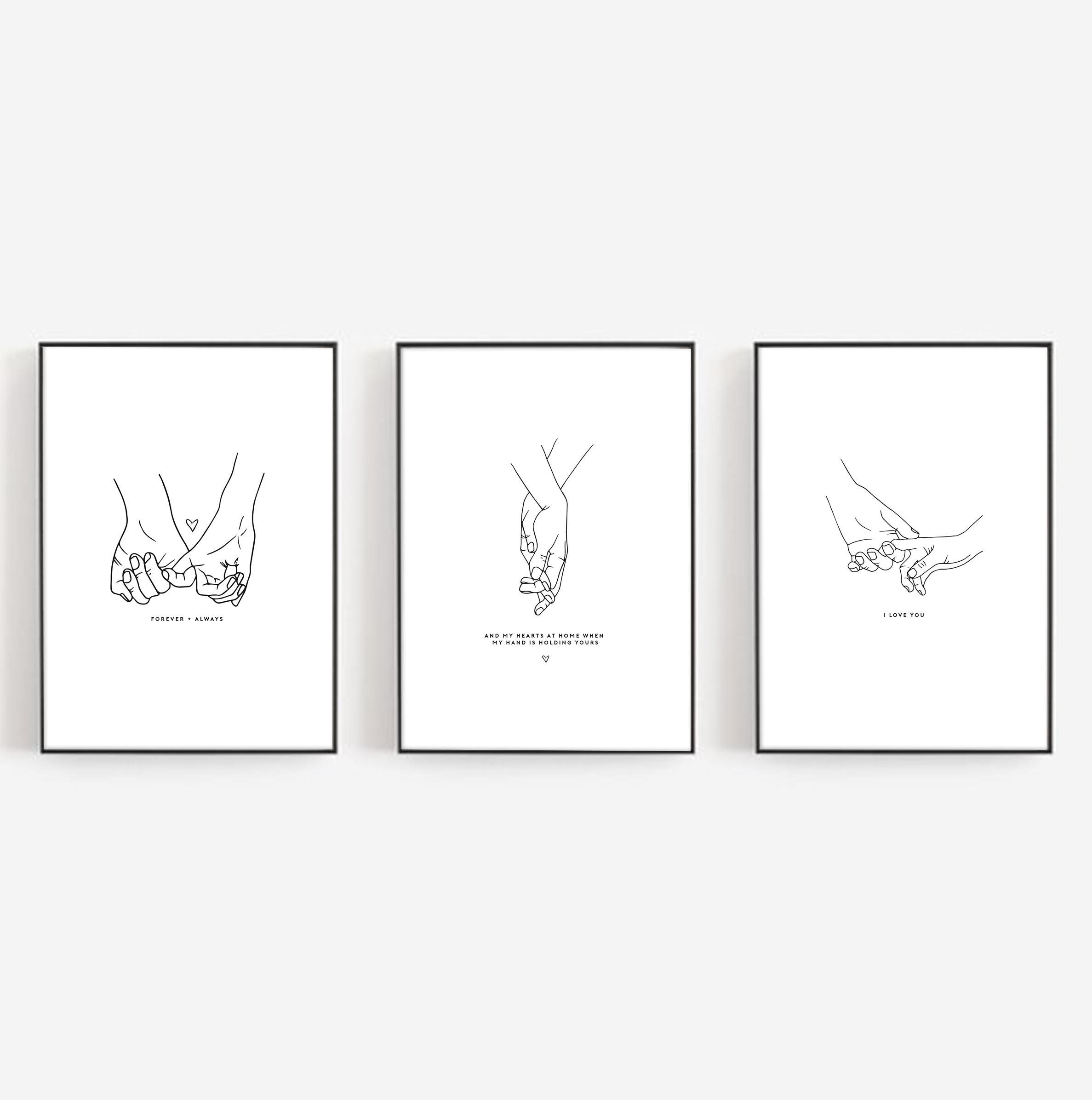 Set Of 3 Holding Hands Print Wall Art Bedroom Print Holding Etsy Quote Prints Wall Prints Hold My Hand Quotes