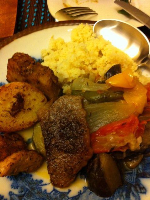 ratatouille, roasted beef and potatoes, couscous for Joshi-kai