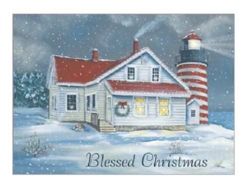 personalized and boxed nautical christmas cards lighthouse the beacon of hope - Nautical Christmas Cards