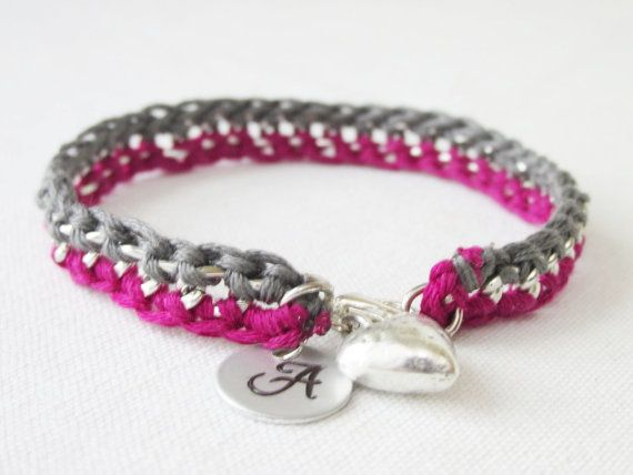 Fuchsia & Grey Delicate Crochet Chain by Foreverafterbeading