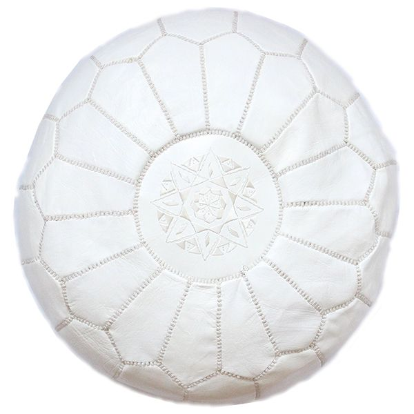 White Pouf Ottoman Magnificent White Leather Moroccan Pouf Handmade Moroccan Footstool With