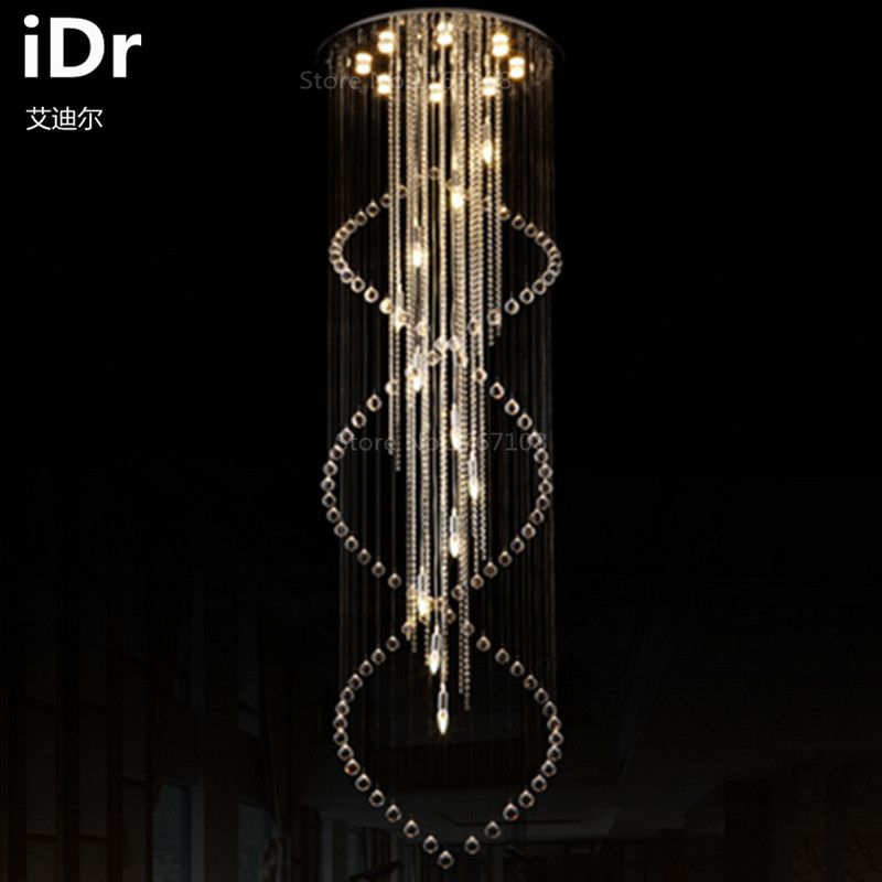 Luxury Villa Staircase Lighting Stair Lamp Long Living Room Crystal Chandelier Stairs Hotel High Quality Affiliate