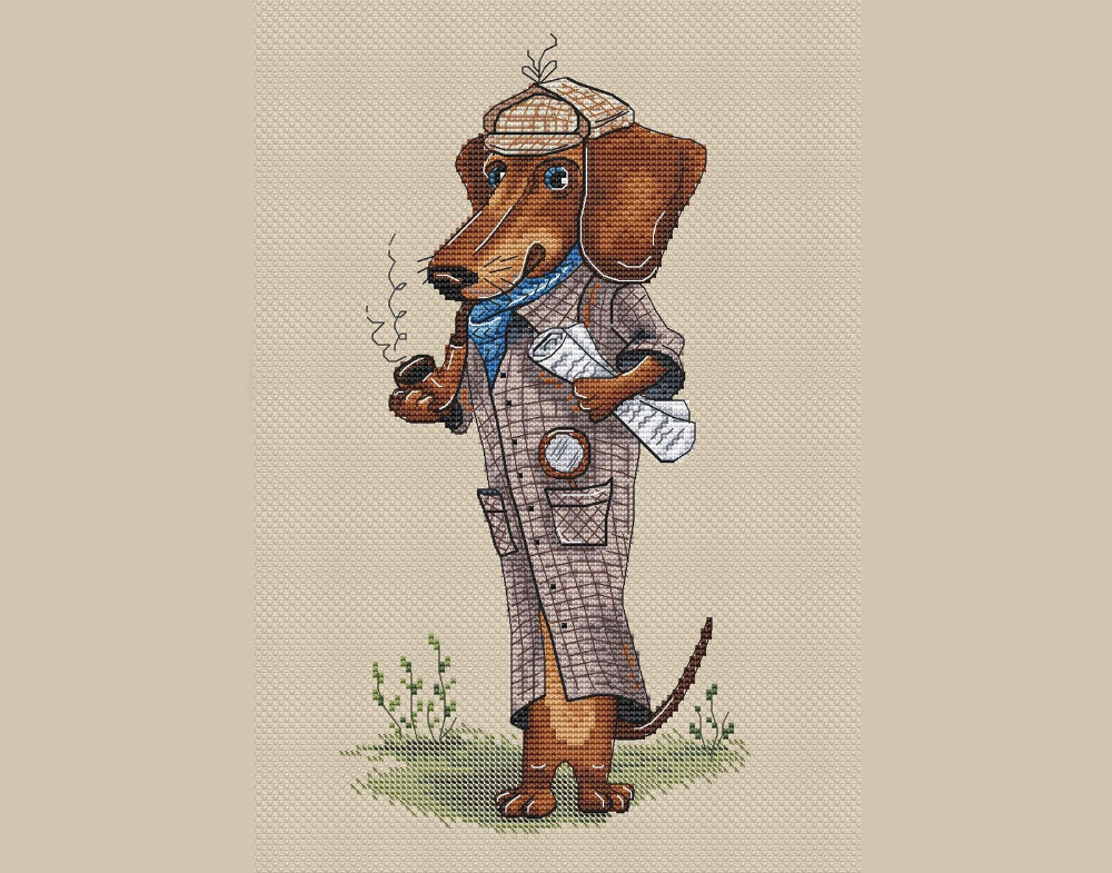 Cross stitch Sherlock cross stitch dog Dachshund cross stitch pattern cute dog cross stitch gift for dog owner cross stitch pattern #stitching