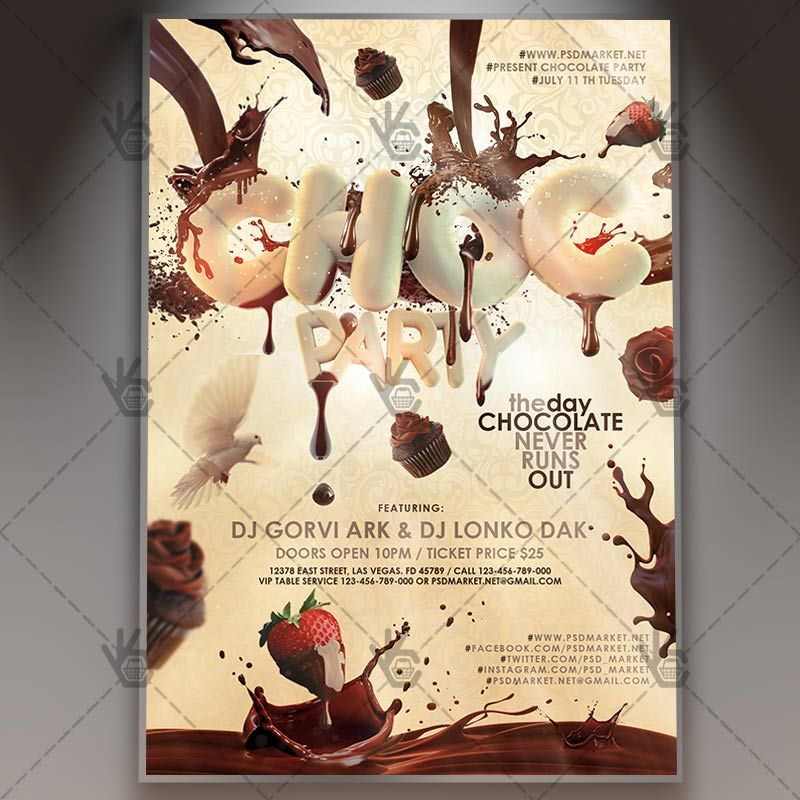 Chocolate Party - Premium Flyer PSD Template #candy #chocparty - coffee shop brochure template