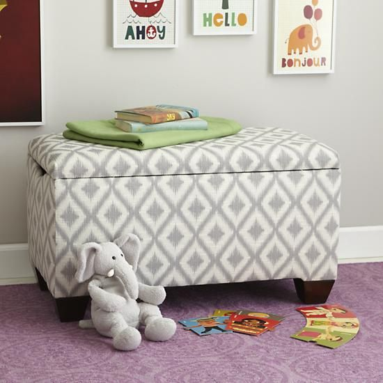 the land of nod kids toy boxes upholstered diamond patterned storage bench in toy