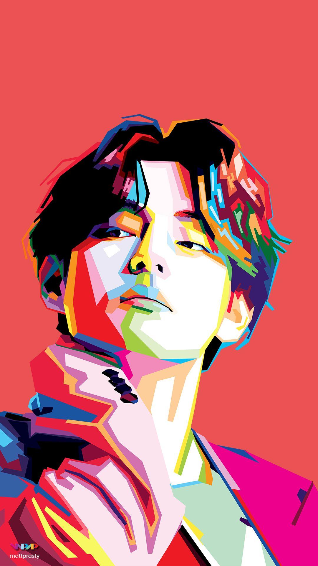 Photo of 'V' Kim Taehyung WPAP art Phone Wallpaper by Matt Prasty